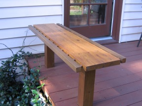 salvaged wood built in bench