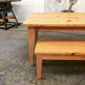 Table and bench. Doug fir
