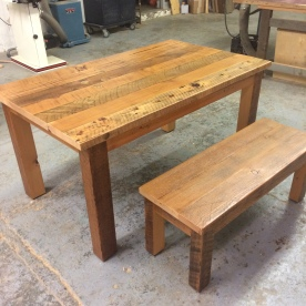 Another table with matching bench. Doug fir.