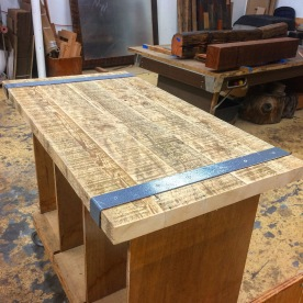 Banded table top. Port Orford cedar