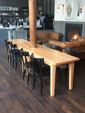 Set of doug fir tables for the Society Hotel, Portland.