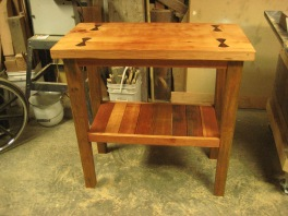 Kitchen work station made from salvaged doug fir and hardwoods.