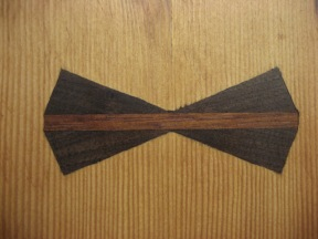 detail of inlay in kitchen work table. walnut and ipe.