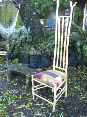chair made from salvaged maple sticks from road clearing at Park Hill Orchard, Mass.