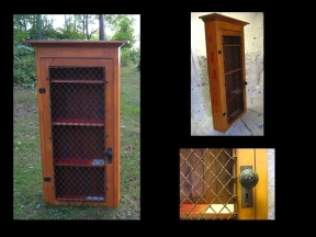 salvaged wood liquor cabinet to be mounted on wall