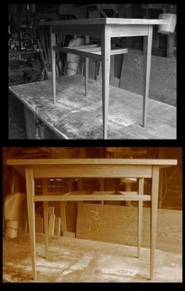 salvaged hard wood side table