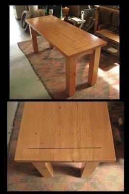 salvaged doug fir table with walnut inlay