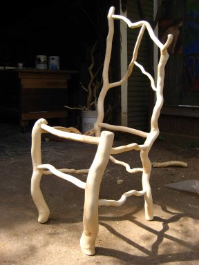 Chair made from the curly willow tree in my back yard.
